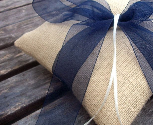 Wedding Ring Bearer Pillow in Ecru Burlap/Hessian And Navy Blue Organza Ribbon. $29.00, via Etsy.