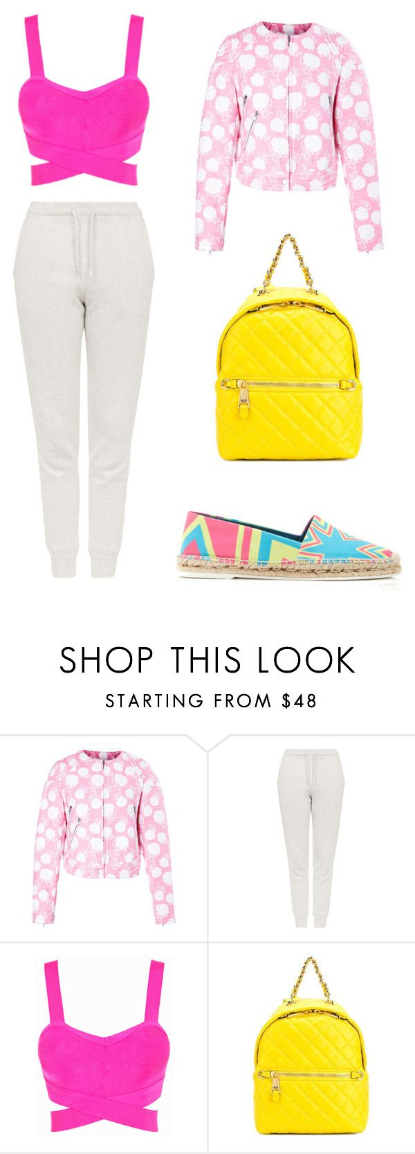 I wear pink for by adriana-claudia on Polyvore featuring Posh Girl, MSGM, Topshop, Nicholas Kirkwood, Moschino and IWearPinkFor