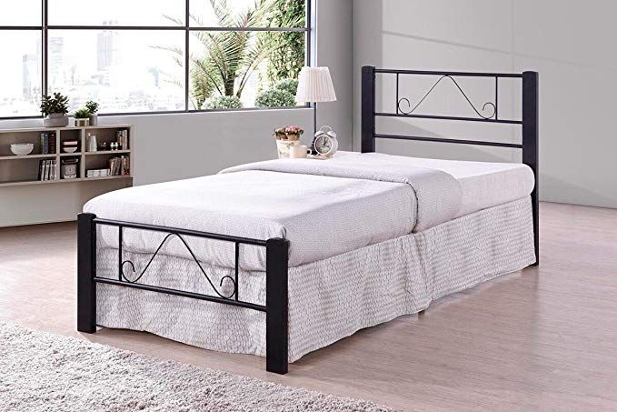 Black Metal Platform Bed Frame Twin Size Headboards And Footboard