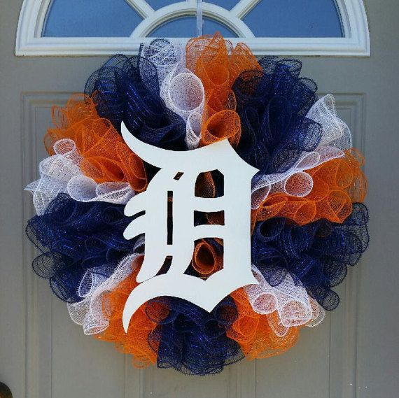 NEW ... MLB Detroit Tigers Wreath Decor is by TheRobinsNestMI