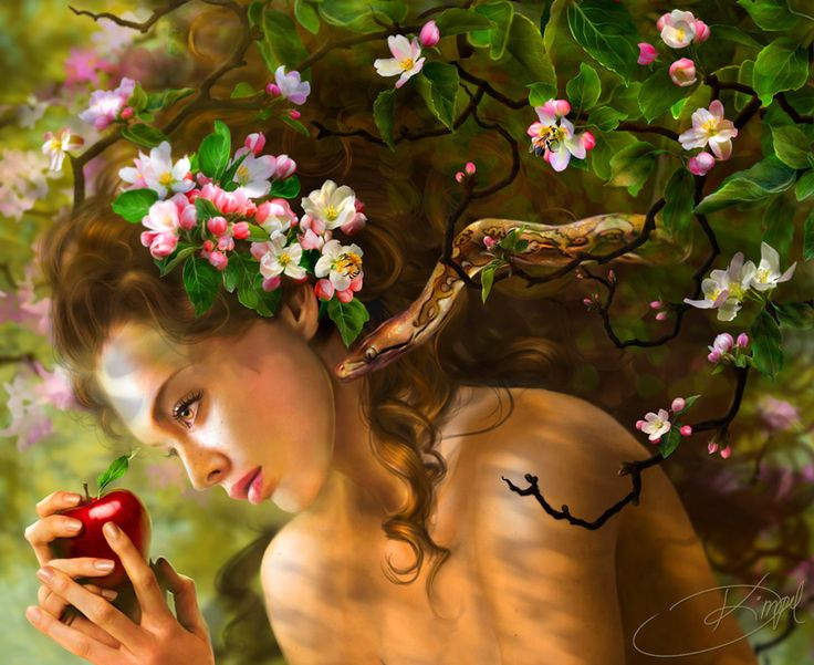 Temptation Of Eve Picture (2d, illustration, snake, apple, eve, girl, female, woman)