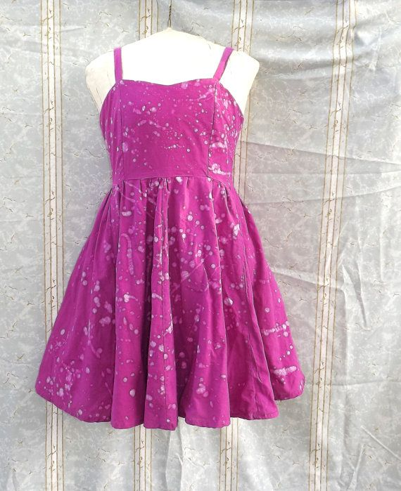 Fit and Flare Dress Fuchsia Batik Medium Hand Dyed by GraceAtieno, $65.00