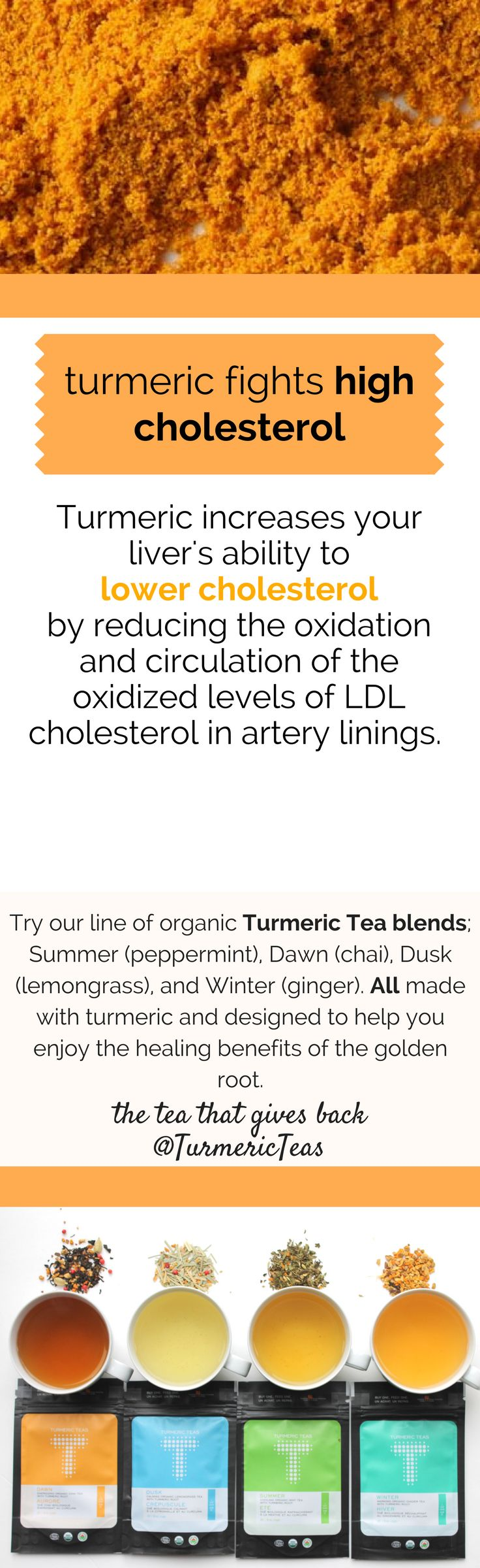 Turn to turmeric to assist in lowering LDL cholesterol in addition to a healthier diet. Click to learn more on how to fight high Cholesterol with Turmeric on our blog. #turmericteas #highcholesterol #teabenefits #turmeric #teas #healthyliving #turmericrecipes