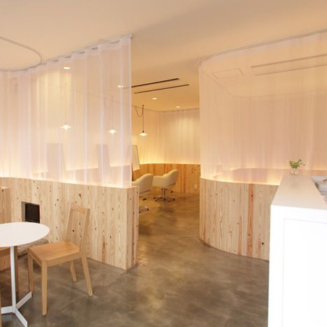 Japanese architects 'Maker' - Hair Very Salon - I mentioned these in my group crit today-- an alternative to the frosted acrylic I was planning for my concept model. A combination of gauze and wood. Interesting consideration of the relationship of ceiling to material and material to floor.