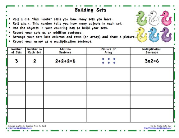 Here's an introductory activity to help students think about repeated addition, making arrays, and writing number sentences.