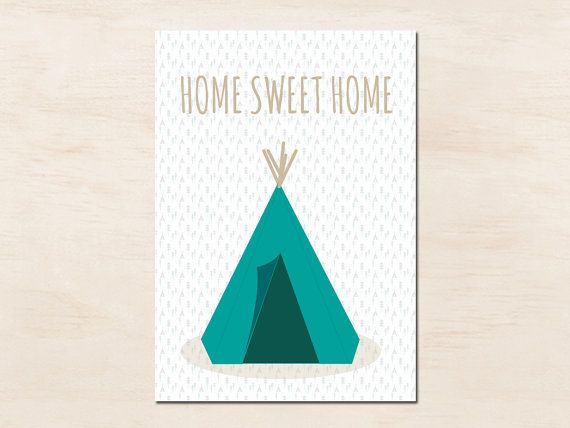 Graphic postcard TEEPEE - postcard with indian tipi - birthday - greetings - wishes