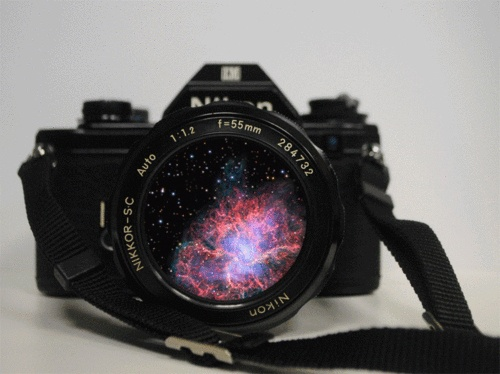 Another camera with a galaxy in the lens.