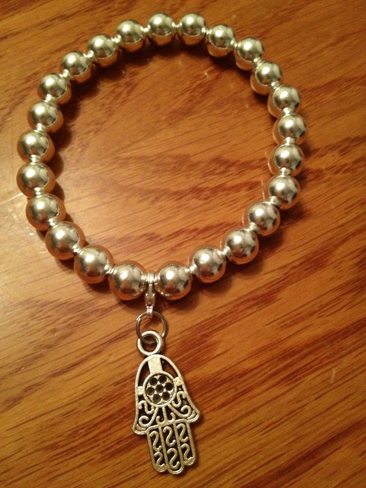 Silver Bracelet with Hamsa Hand