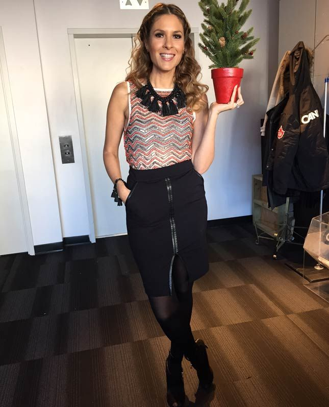 Friday, November 14th | Dina's outfit included: MENDOCINO Mesh Sequins Beaded Cropped Top $130.00 GUESS BY MARCIANO Black Pencil Skirt with Leather Trim $138.00 COCOA JEWELRY available at Shoppers Drug Mart Fringe Necklace $68.00 & Matching Fringe Bracelet $45.00 NINE WEST Enzo Angiolini Black Open Toe Heels $175.00 (Last Season)