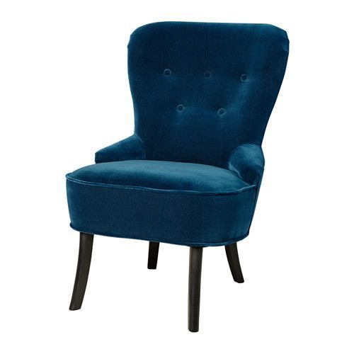 IKEA - REMSTA, Armchair, Djuparp dark green-blue, , The shape of the armchair provides nice support for the lumbar region.