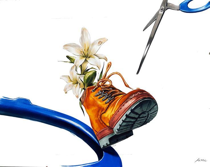 신발 & 꽃(자연물) & 가위(스틸)