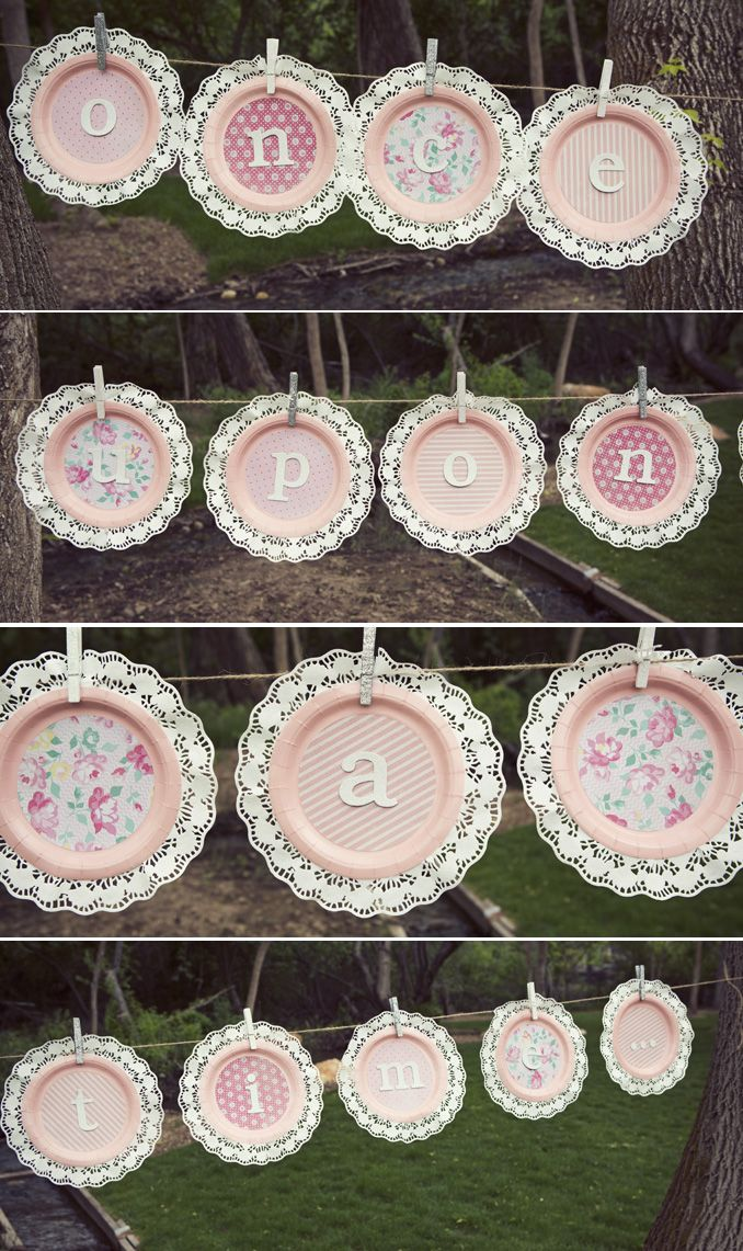 Princess party paper plate bunting