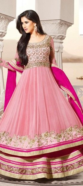 413721: #Anarkali #salwarkameez #Georgette, Machine  #Embroidery, #Sequence, Stone, Patch, Zari, #Lace  #layering #pink #sequin #onlineshopping #partywear #ethnic