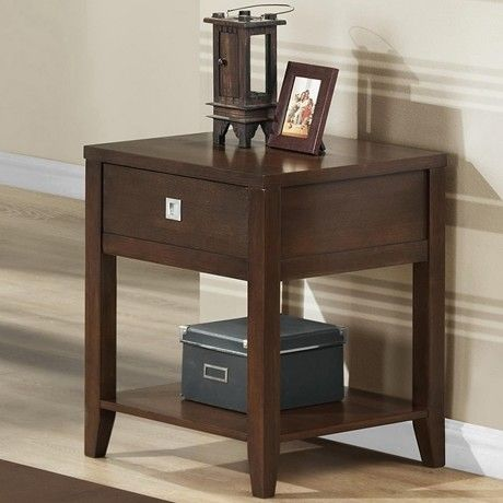 Features:  -Material: Wood.  -One drawer with silver drawer pull.  -Modern style.  -Single shelf.  -Wipe clean with a dry cloth.  -Particleboard table with dark brown rubber wood veneer finish.  Shape