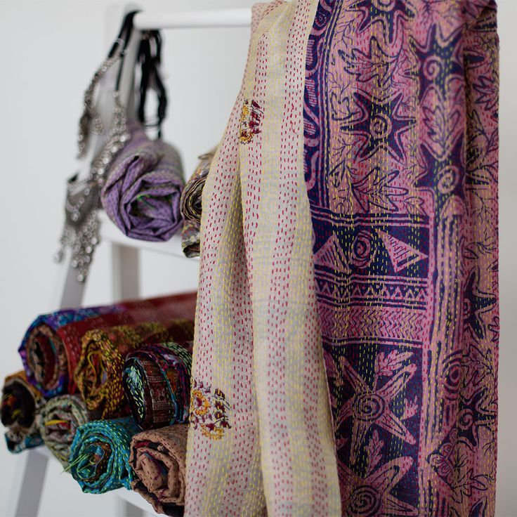 Kantha Silk Scarf 106 | The Hues of India