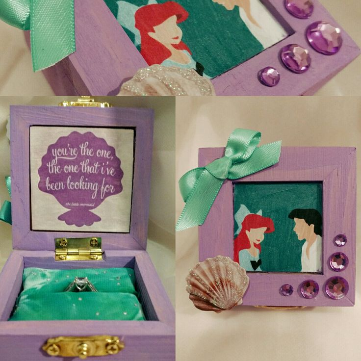 Disneys The Little Mermaid Ariel Amp Eric Inspired Engagement Ring Box With Prince Erics Quote