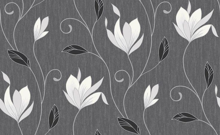 Synergy (M0783) - Vymura Wallpapers - A graceful magnolia trail embellished with glitter on a finely textured shimmering ground. Shown here in Black ebony - more colours are available. Please request a sample for true colour match.