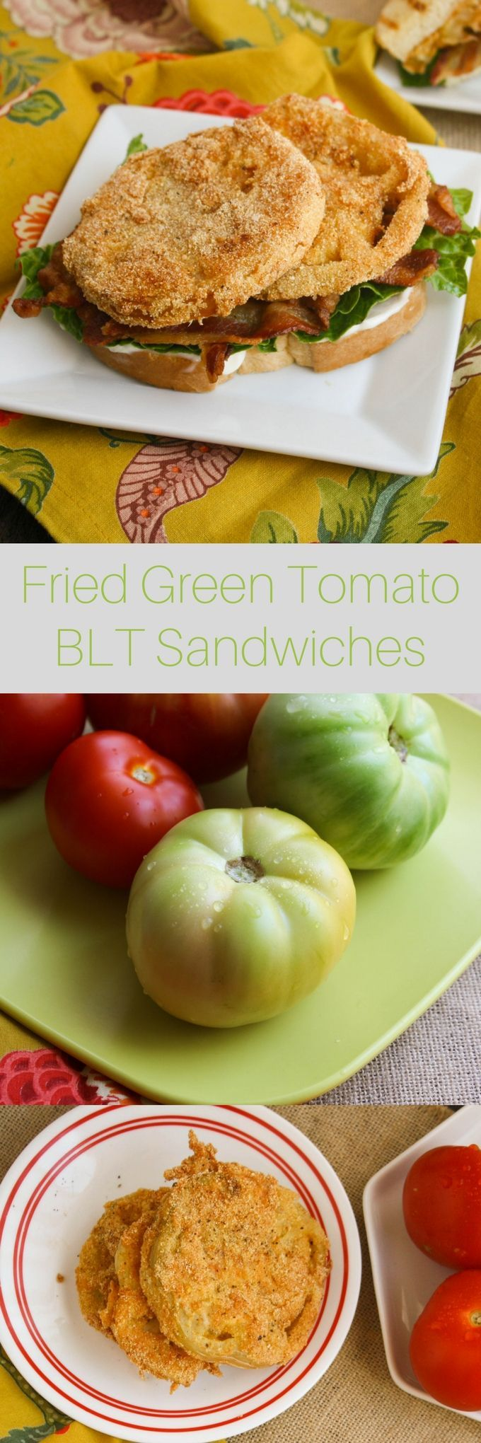 Have you ever had fried green tomatoes? If not, you must! Try them as fried green tomato BLT sandwiches. The tomatoes are thick and hearty and a bit zingy and slightly sour. Curious?
