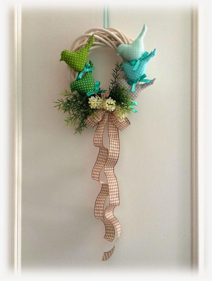 Tilda birds Easter Spring wreath handmade easter home decoration polka dots fabric pattern ptaszki