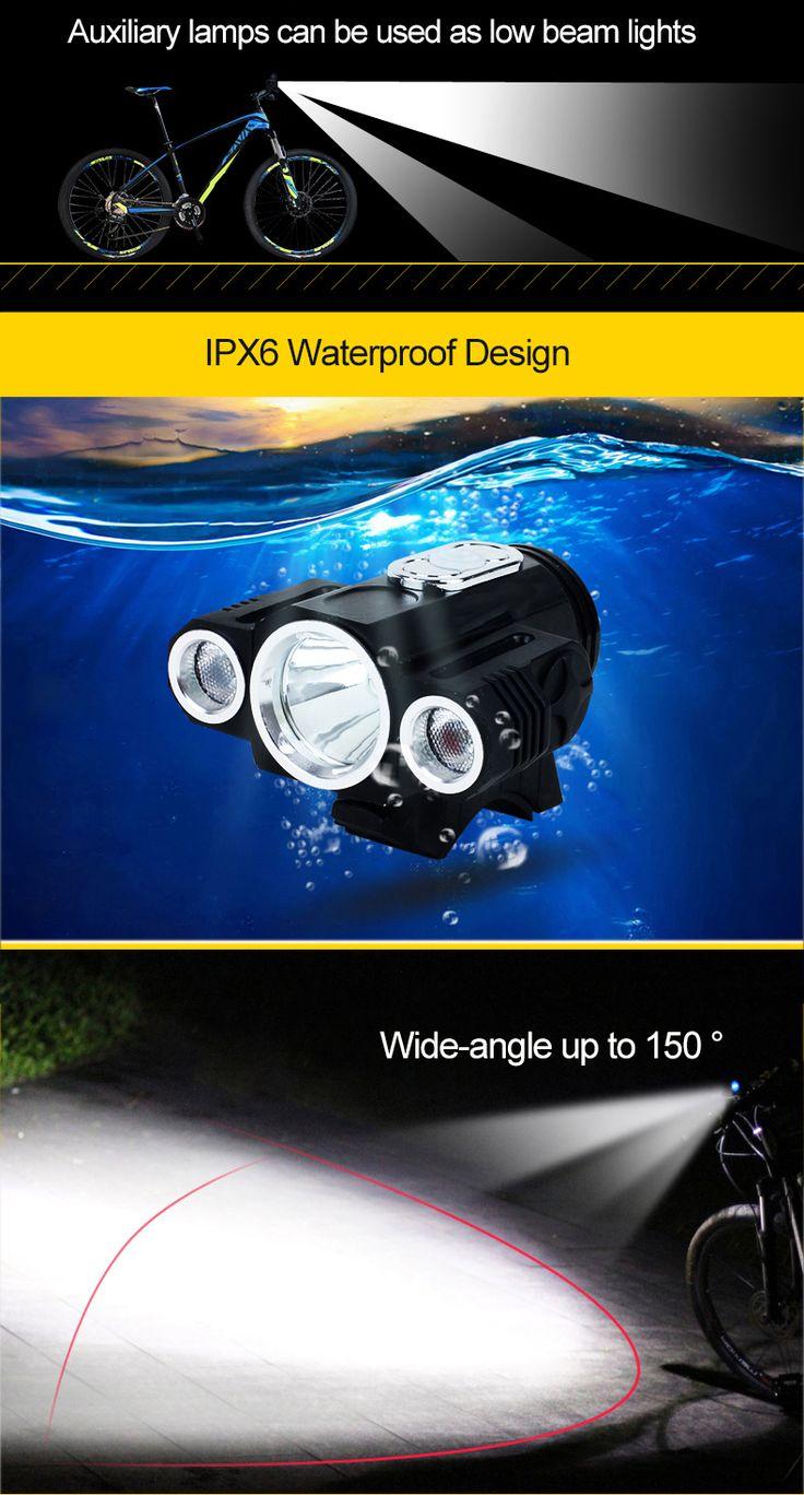 XANES 360° Rotation 400LM Waterproof Bike Light T6+2XPE 4 Modes Headlamps Handfree Aluminium Alloy Multipurpose LED Outdoor Sports Headlight for Biking Camping Hiking