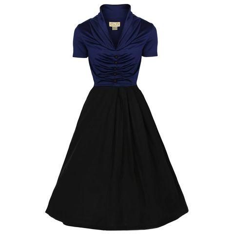 Элегантное платье в стиле 50-х «Эльза», Черное/Синее