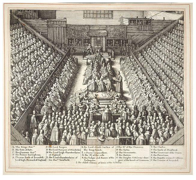 Trial of Strafford (State 1).Wenceslas Hollar-Unknown date (author lived 1607-1677),27x29 cm.Thomas Fisher Rare Book Library.Это было время, когда один из судей Уэнтуорта, Оливер Джон,имея в виду королев. фаворита,мог произнести:«Никогда не считалось жестоким или умышленным нарушением правил, если нужно было убить лису или волка».
