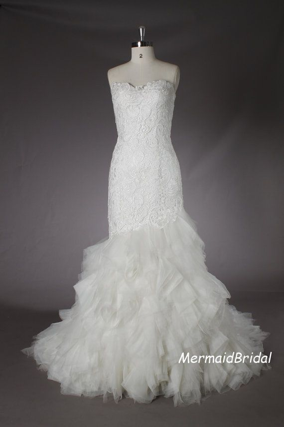 Fit and flare wedding dress Venice lace applique by MermaidBridal, $399.99