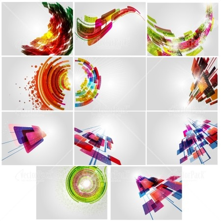 A collection of 11 retro looking abstract vector backgrounds.