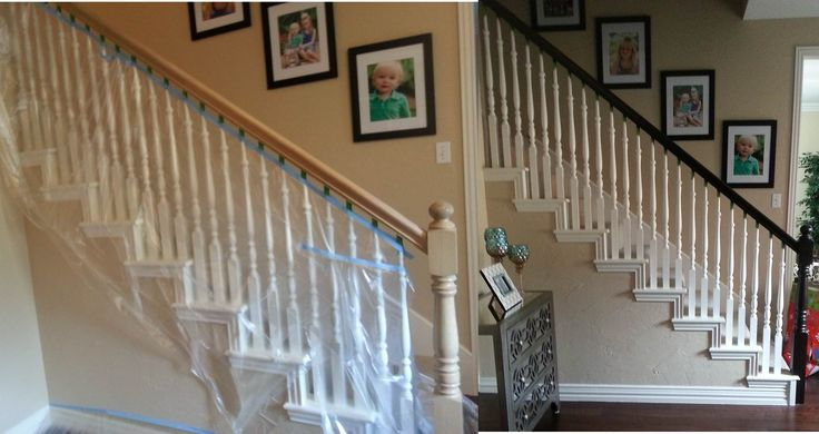 My $15 banister makeover! No sanding needed with this awesome gel stain.  http://www.amazon.com/General-Finishes-Java-Stain-Pint/dp/B001DT1IZS