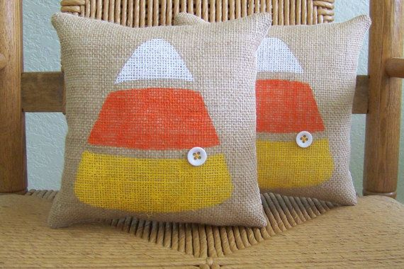A great gift for the candy corn lover! Made from burlap fabric hand stenciled in white, orange and yellow fabric paint with a white button accent. It is lined in muslin and has a solid muslin backing. Poly fiber fill stuffing and ready to display. Single pillow shown in photo approximately 9 x 9 inches. **Please note these pillows COME WITH stuffing! ***If you dont see the quantity you need please contact me and I will check the current inventory available for you