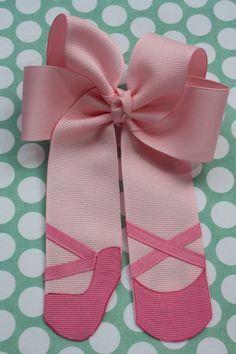 Sweet Ballerina Ballet Bow in Pink Grosgrain Ribbon on Etsy, $8.00