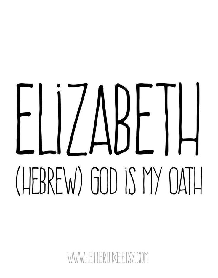 Elizabeth name meaning art printable baby shower gift
