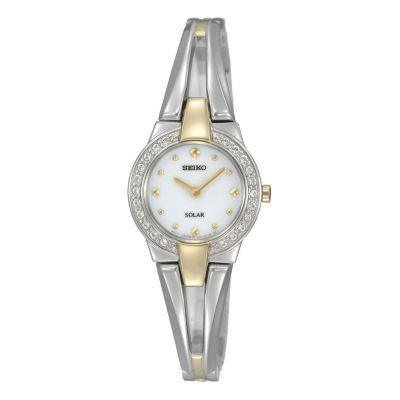 Seiko ladies' two colour stone set bracelet watch- Ernest Jones