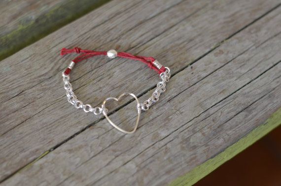 Silver heart charm adjustable bracelet with by CreationsOfJackieL