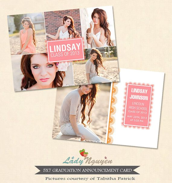 INSTANT DOWNLOAD 5x7 Graduation Announcement Card by LadyNguyen, $8.00