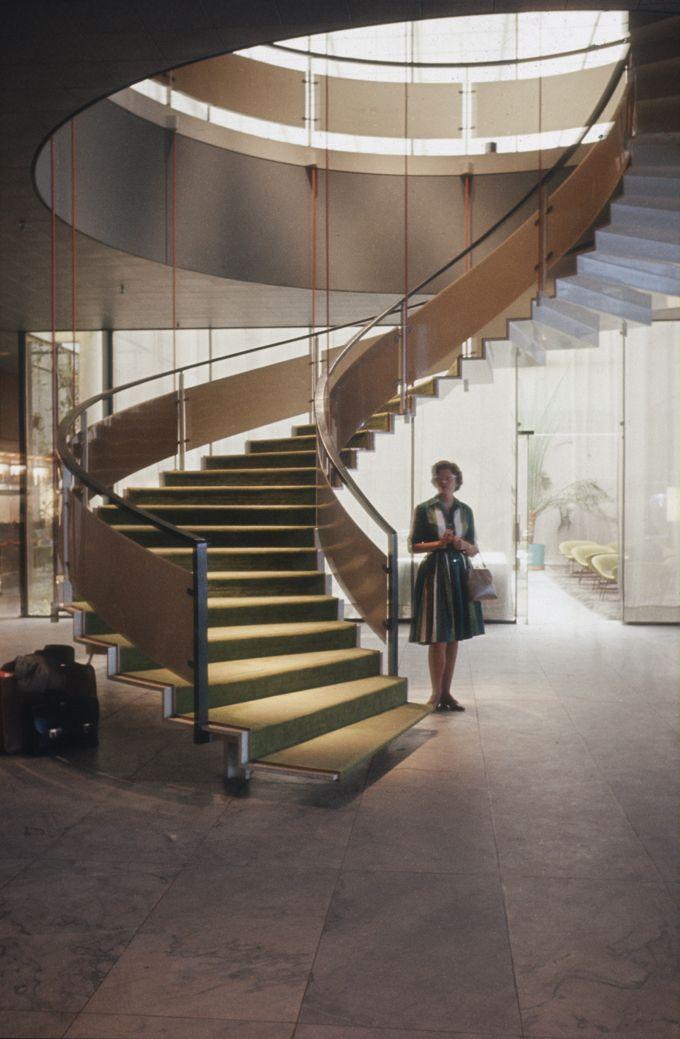 Arne Jacobsen, staircase SAS Royal Hotel Copenhagen, 1958-60. Denmark. Via kunstbib.dk