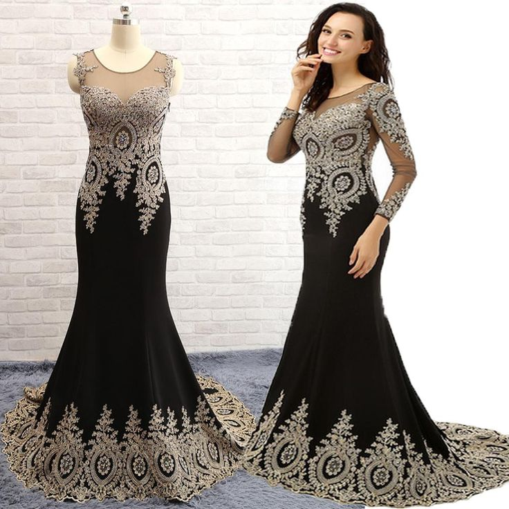 Best Selling! 2015 Chiffon Long Sleeves Appliques Beaded Scoop Neck Prom Dresses Elegant Mermaid Wedding Party Dresses See Through Top Evening Dresses For Girls Evening Dresses For Larger Ladies From Hotdresses, $115.19| Dhgate.Com