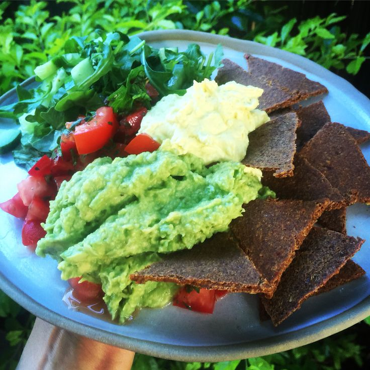 Raw Corn Chips and cashew Cheese Mexican plate