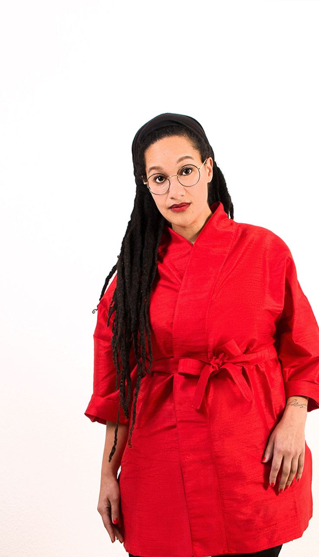 Streetstyle Kimono jacket made of red silk by Label KimonoManufaktur | SS18 | All Size | Plus Size