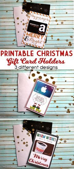 """Three """"pun""""y Printable Christmas Gift Card Holders - You'll love that they fit into standard greeting cards! Grab an iTunes, Coffee Shop or Amazon Gift Card and attach - easy peasy!   The Girl Creative"""