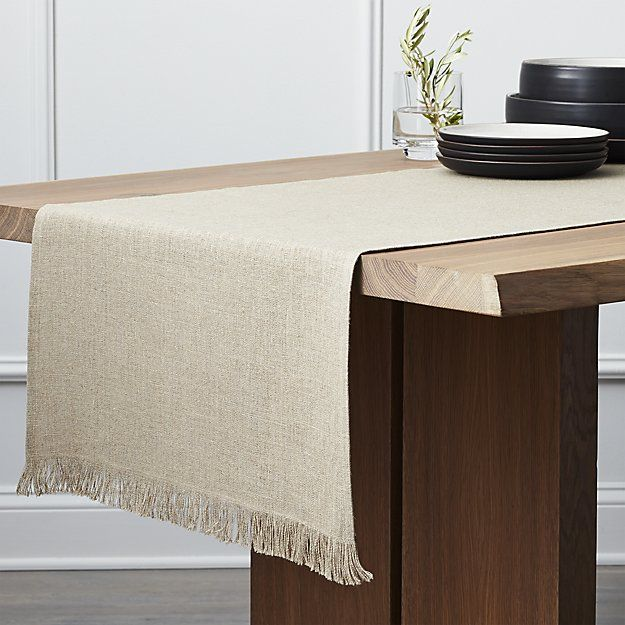 "Beckett Natural 120"" Linen Table Runner 