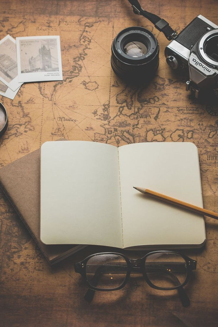 Free stock photo of camera, notebook, notes, travel