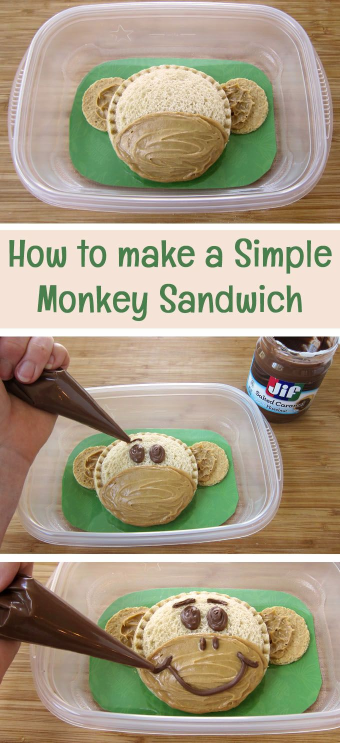 How to make a simple monkey sandwich using Smucker's® Uncrustables®. They make a fun lunch for kid's on your day at the zoo.