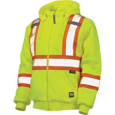 Work King Hi-Vis Quilt-Lined Hooded Sweatshirt with 3M Scotchlite Material — Hi-Vis, XL