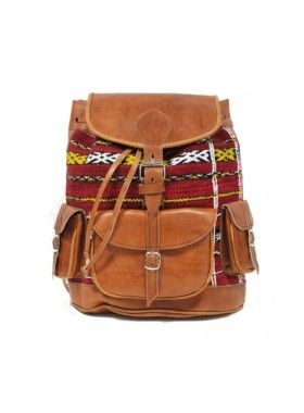 My Green Bag Tan Leather and Aztec Print Rucksack. Buy @ http://thehubmarketplace.com/Tan-Leather-and-Aztec-Print-Rucksack