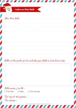 lettre au pere noel à imprimer