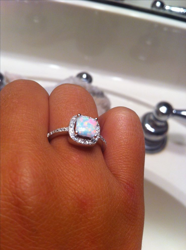 Beautiful sterling silver opal square cut ring #opal #ring #squarecut