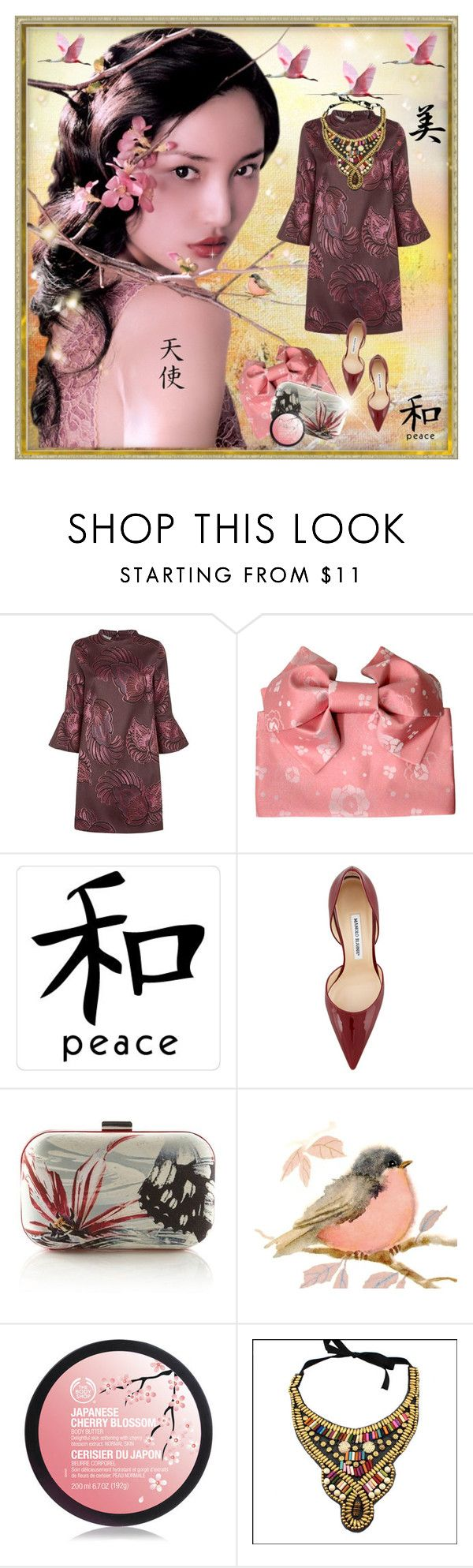 """""""Oriental inspiration"""" by anne-irene ❤ liked on Polyvore featuring Bebe, STELLA McCARTNEY, INC International Concepts, Manolo Blahnik, Karen Millen, The Body Shop, women's clothing, women, female and woman"""