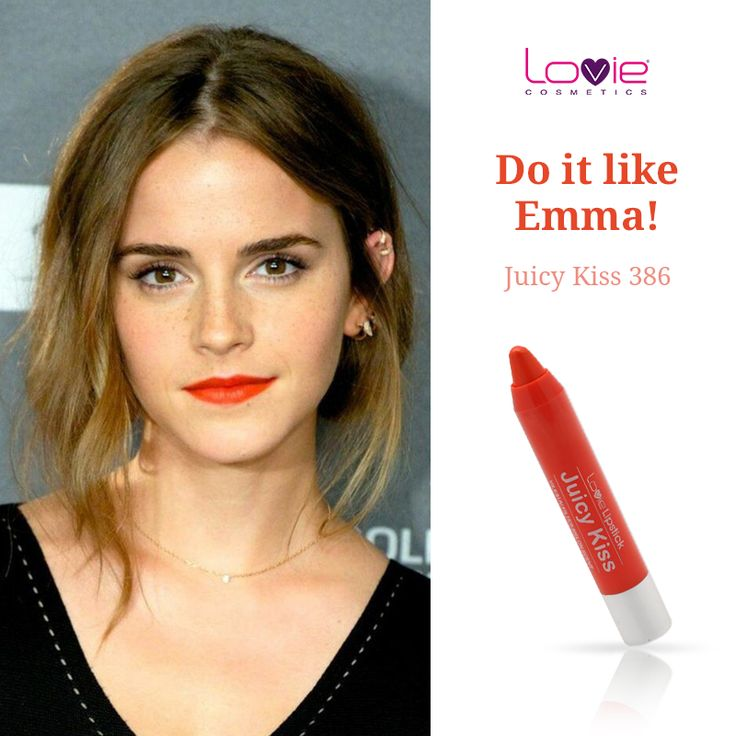 Orange red κραγιόν μολύβι από τη Lovie - εμπνευσμένο Look της Εmma Watson! http://www.lovie.gr/kragion-lovie/kragion-molyvia-juicy-kiss/kragion-molyvi-juicy-kiss-386 #lovie #cosmetics #juicy #kiss