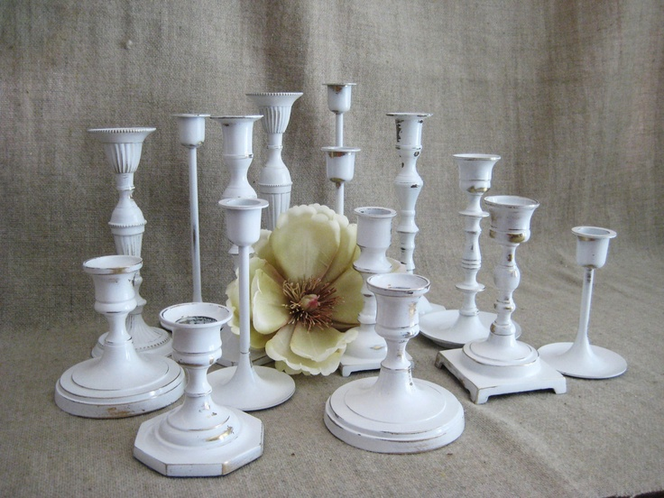 White Wedding Candle Holder Collection by dewdropdaisies on Etsy